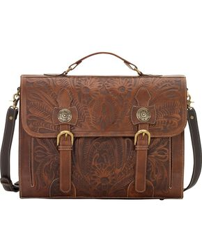 American West Chestnut Leather Stagecoach Laptop Briefcase, Chestnut, hi-res