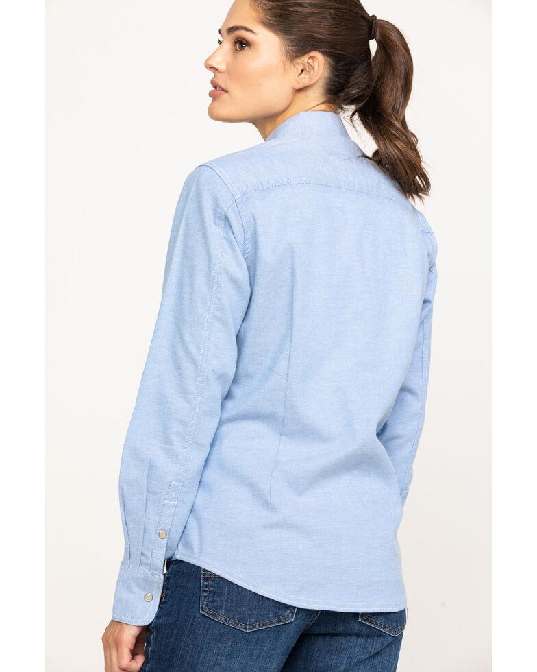 Ariat Women's FR Solid Durastretch Work Shirt, Blue, hi-res