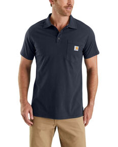Carhartt Men's Grey Force Cotton Pocket Polo Work Shirt , Navy, hi-res