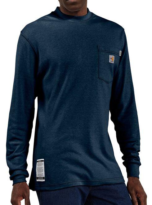 Carhartt Flame Resistant Long Sleeve Navy Work Shirt - Big & Tall, Navy, hi-res