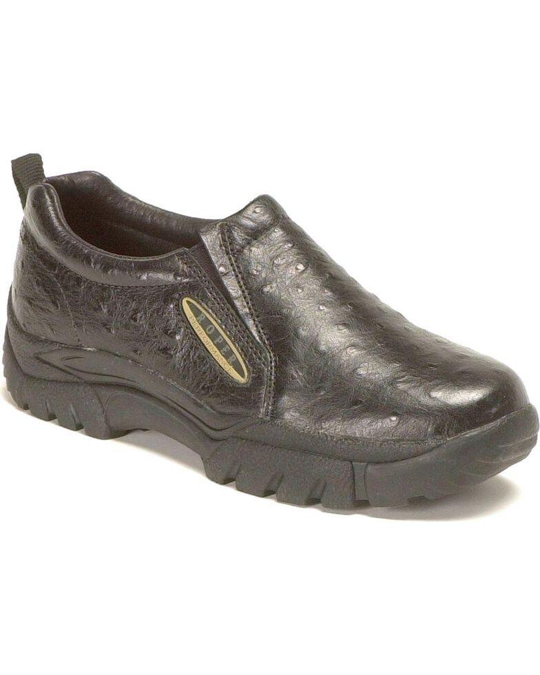 Roper Ostrich Print Leather Slip-On Shoes, Black, hi-res