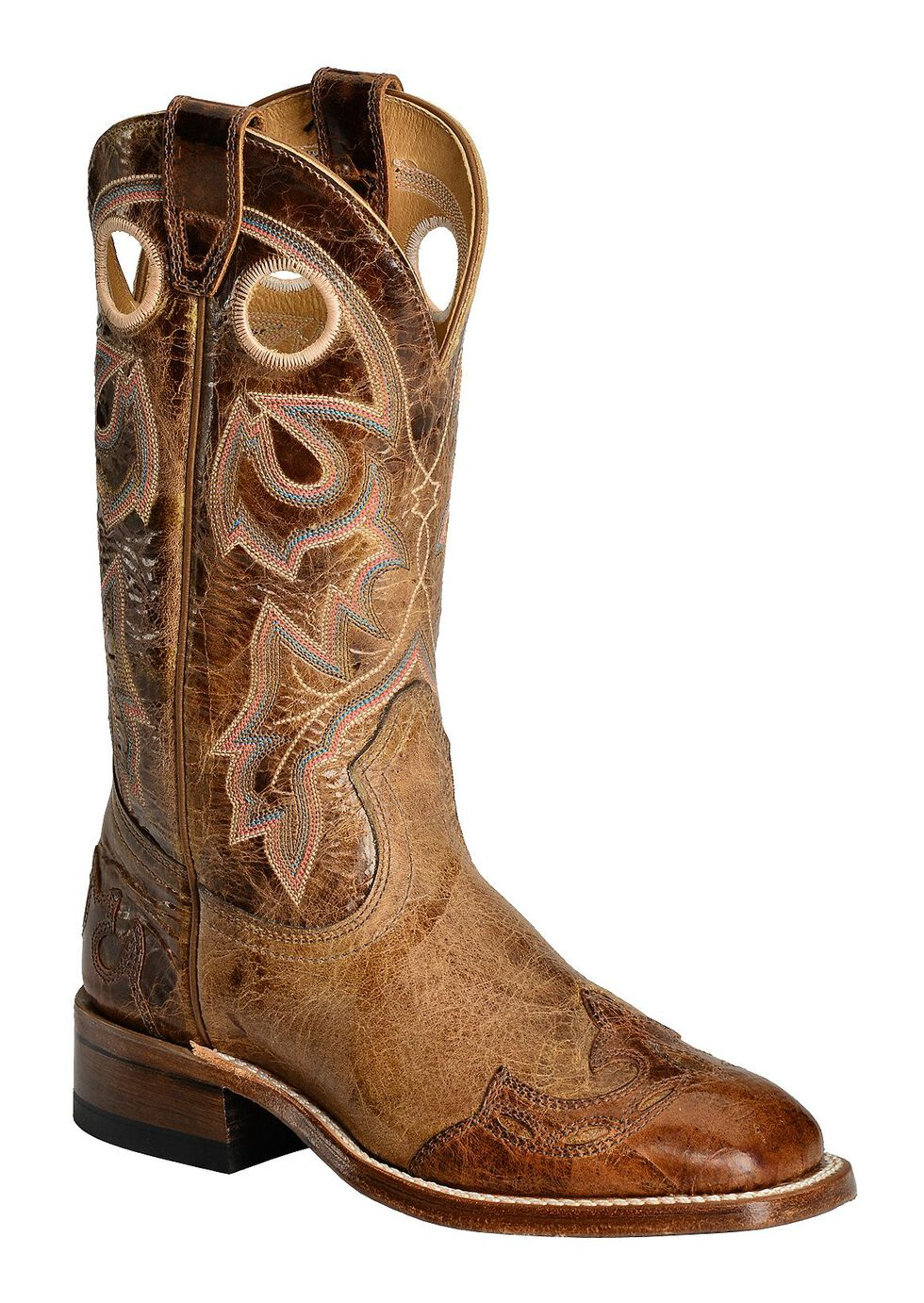 Boulet Puma Tan with Wingtip Overlay Cowgirl Boots - Square Toe, Tan, hi-res