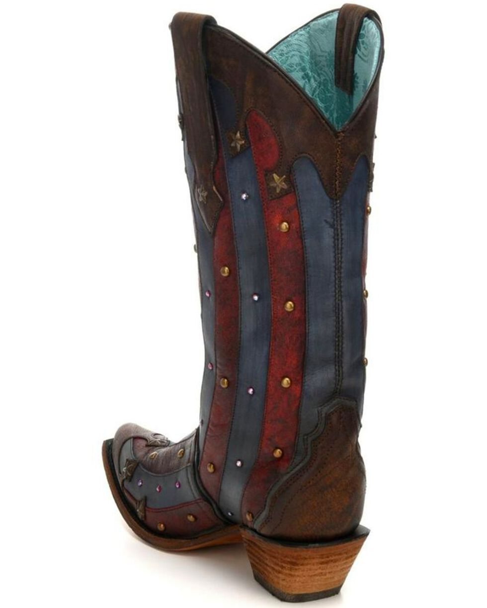 Corral Women's Patriotic Red & Blue Studded  Cowgirl Boots - Snip Toe, Blue/red, hi-res
