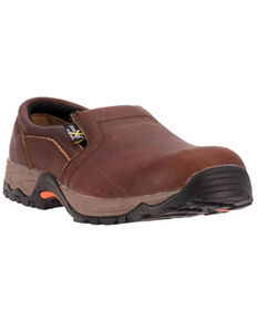 McRae Men's Poron XRD Met Guard Slip-On Work Shoes - Composite Toe, Brown, hi-res