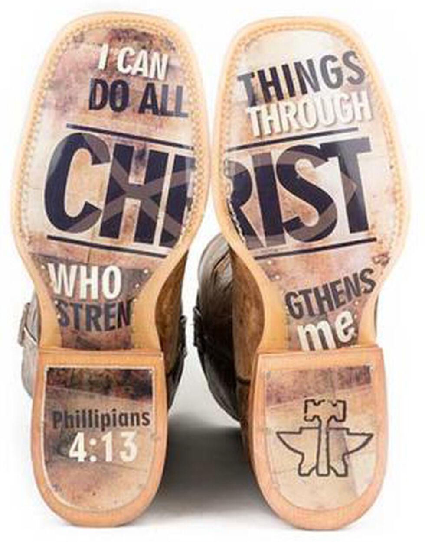 Tin Haul Ichthys Philippians 4:13 Cowboy Boots - Square Toe, Brown, hi-res