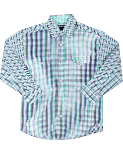 Panhandle Boys' Long Sleeve Plaid Snap Shirt, Green, hi-res