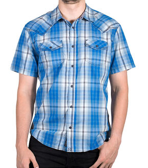 Moonshine Spirit Men's Plaid Short Sleeve Shirt, White, hi-res