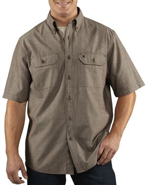 Carhartt Fort Short Sleeve Work Shirt, Dark Brown, hi-res
