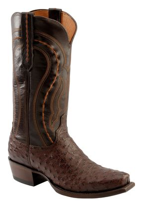 Lucchese Handmade 1883 Western Full Quill Ostrich Cowboy Boots - Square Toe, Sienna, hi-res