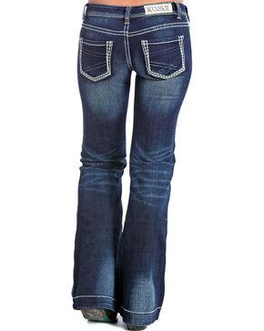 Rock & Roll Cowgirl Women's Dark Vintage Wash Low Rise Trouser Jeans - Boot Cut, Dark Blue, hi-res