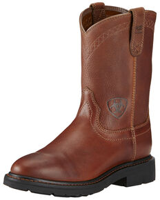 Ariat Sierra Cowboy Work Boots - Round Toe, Bronze, hi-res