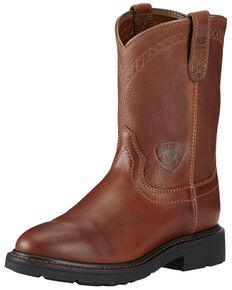 Ariat Sierra Cowboy Work Boots - Round Toe, Bronze, hi-res