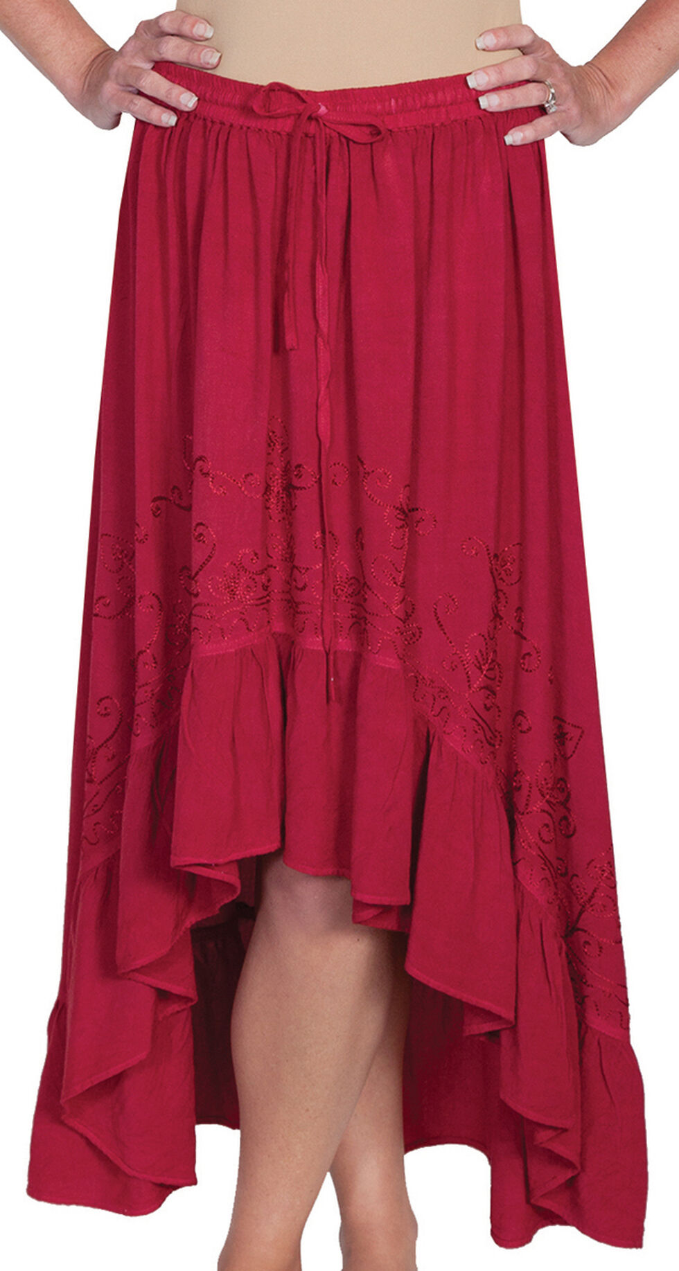 Scully Women's High-Low Maxi Skirt, Burgundy, hi-res