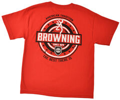 Browning Youth Boys' Red World League T-Shirt , Red, hi-res