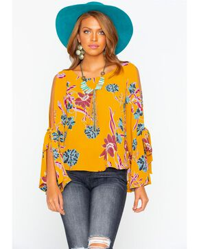 Shyanne Women's Floral Crepe Bell Sleeve Blouse , Dark Yellow, hi-res