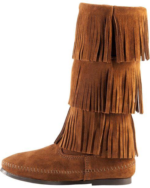 Minnetonka Tall Fringed Boots, Brown, hi-res