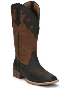 Justin Women's Lattie Square Toe Western Boots, Black, hi-res