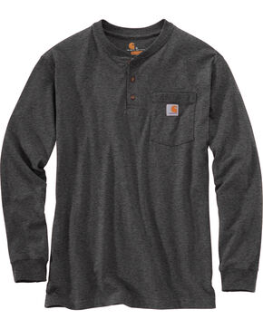 Carhartt Long Sleeve Work Henley Shirt - Big & Tall, Medium Grey, hi-res
