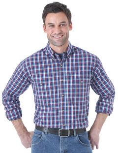 Wrangler Men's Rugged Wear Navy Plaid Long Sleeve Shirt, Navy, hi-res