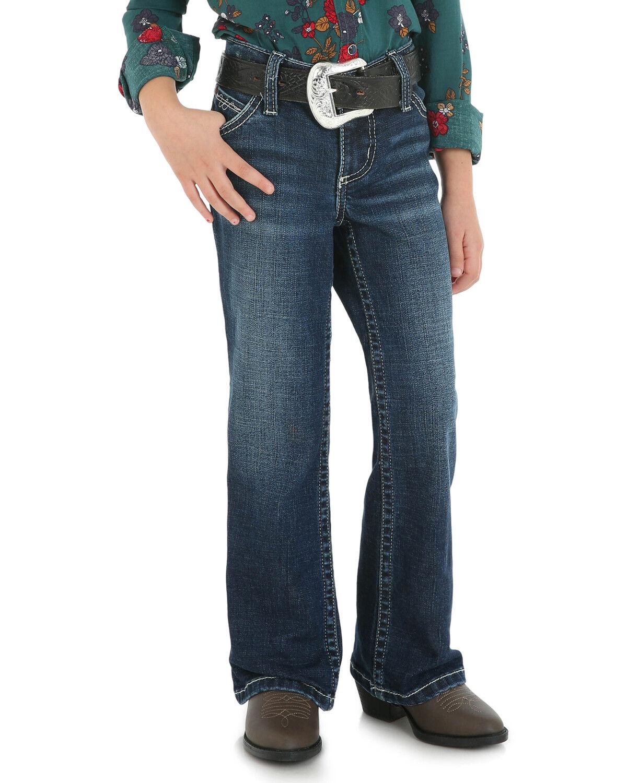 Wrangler Girls Premium Patch Thick Stitch Bootcut Jeans Denim 7 SLM