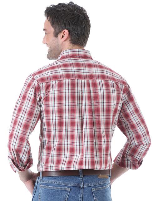Wrangler Men's Rugged Wear Red Plaid Long Sleeve Shirt, Red, hi-res