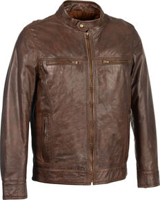 Milwaukee Leather Men's Zip Front Classic Moto Leather Jacket, Brown, hi-res