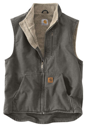 Carhartt Sherpa Lined Work Vest - Big & Tall, Grey, hi-res
