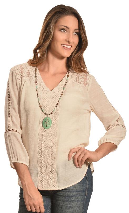 Tantrums Women's Sand Crochet and Lace V-Neck Shirt , Sand, hi-res