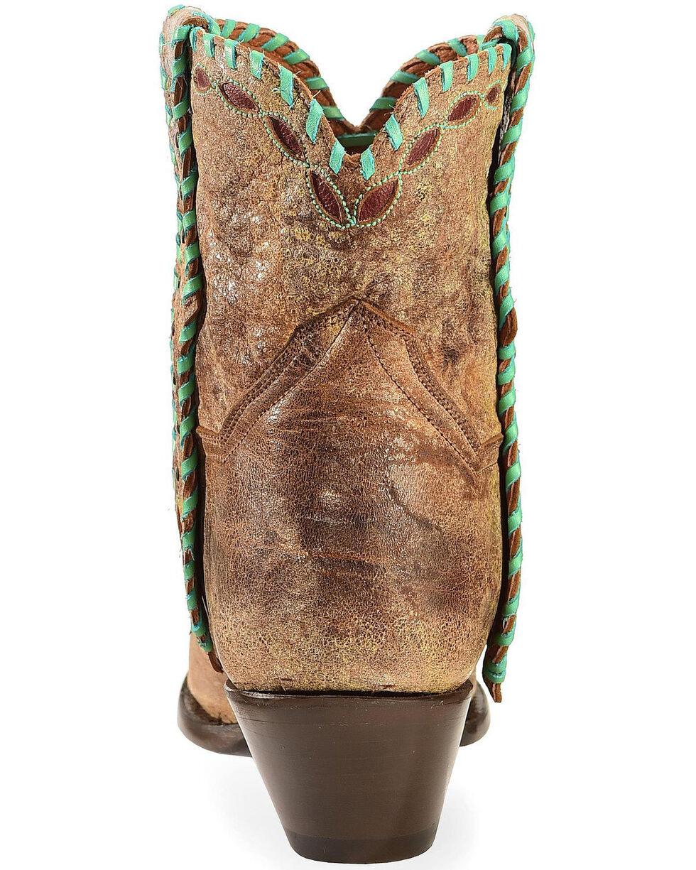 Dan Post Women's Tan with Turquoise Mule Ear Ankle Boots - Snip Toe, Tan, hi-res