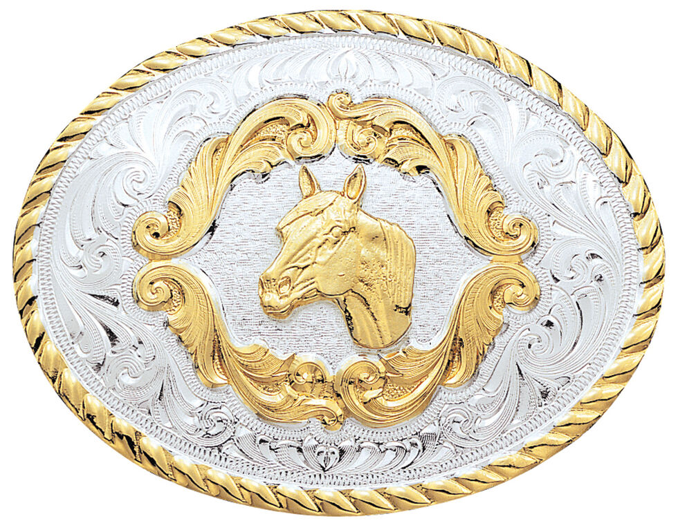 Montana Silversmiths Small Horsehead Western Belt Buckle, Silver, hi-res