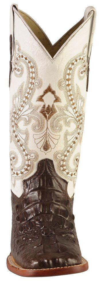 Ferrini Hornback Caiman Print Cowgirl Boots - Wide Square Toe, Chocolate, hi-res