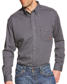 Ariat Men's Tyler Floulard FR Print Long Sleeve Work Shirt, Black, hi-res