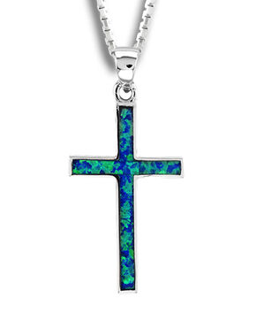 Kelly Herd Sterling Silver Blue Opal Cross Pendant, Silver, hi-res
