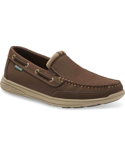Eastland Men's Brentwood Slip On Boat Shoes - Moc Toe, Brown, hi-res