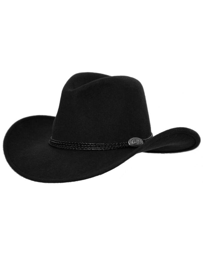Outback Trading Co. Shy Game Crusher UPF50 Australian Wool Hat , Black, hi-res
