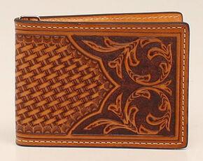 Nocona Floral Bi-Fold Money Clip Wallet, Natural, hi-res