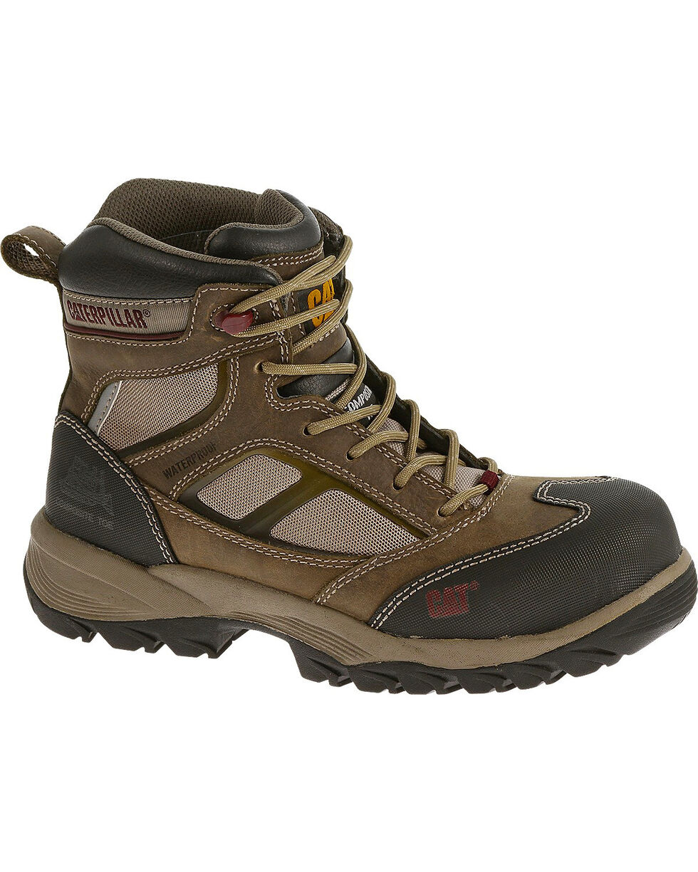 """Caterpillar Women's Taupe Shaman 6"""" Waterproof Work Boots - Composite Toe , Taupe, hi-res"""
