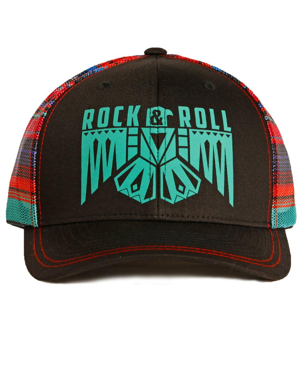 Rock & Roll Denim Serape Mesh Thunderbird Cap , Black, hi-res