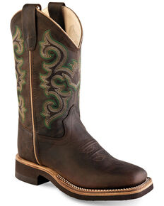 Old West Boys' Classic Green Embroidered Western Boots - Wide Square Toe, Brown, hi-res