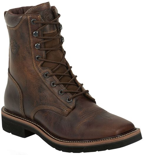 "Justin Stampede 8"" Lace-Up Stampede Work Boots - Square Toe, Rugged, hi-res"