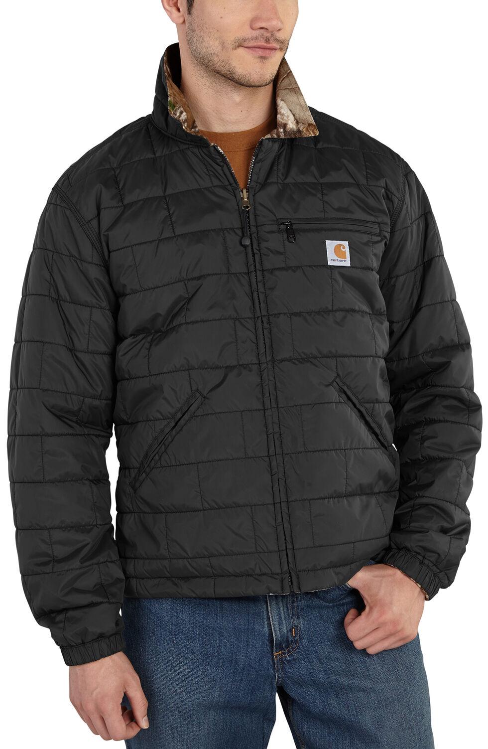 Carhartt Men's Woodsville Reversible Camo Jacket, Black, hi-res