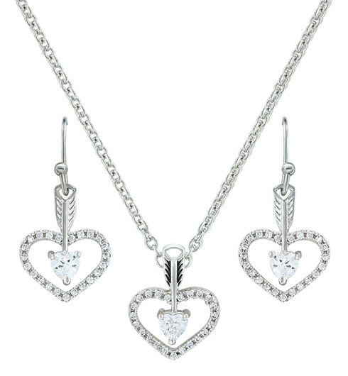 Montana Silversmiths Straight to the Heart Arrow Jewelry Set , Silver, hi-res