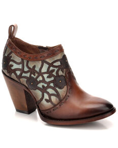 Corral Women's Turquoise & Gold Overlay Embroidered Western Fashion Booties - Round Toe, Turquoise, hi-res
