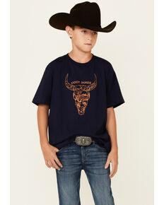 Cody James Boys' Navy Bull Skull Graphic Short Sleeve T-Shirt , Navy, hi-res