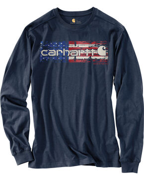 Carhartt Men's Navy Lubbock Graphic Distressed Flag Long Sleeve T-Shirt , Navy, hi-res