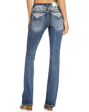 Miss Me Women's Beaded Yoke Boot Cut Jeans , Indigo, hi-res