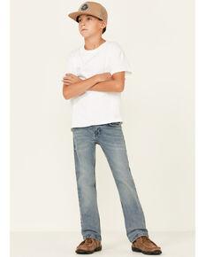 Wrangler 20X Boys' Misty Light Wash Vintage Slim Bootcut Jeans, Blue, hi-res