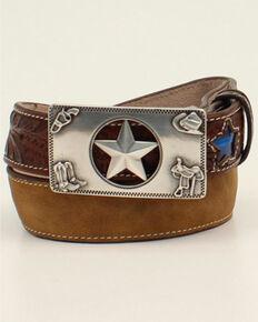 M & F Western Kids' 3D Blue Stars Belt , Brown, hi-res