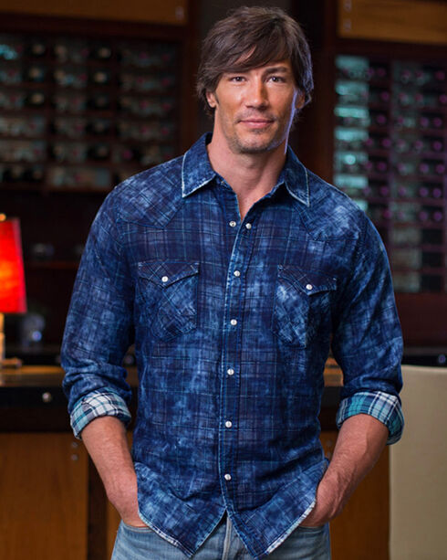 Ryan Michael Men's Indigo Midnight Double Face Plaid Shirt, Indigo, hi-res