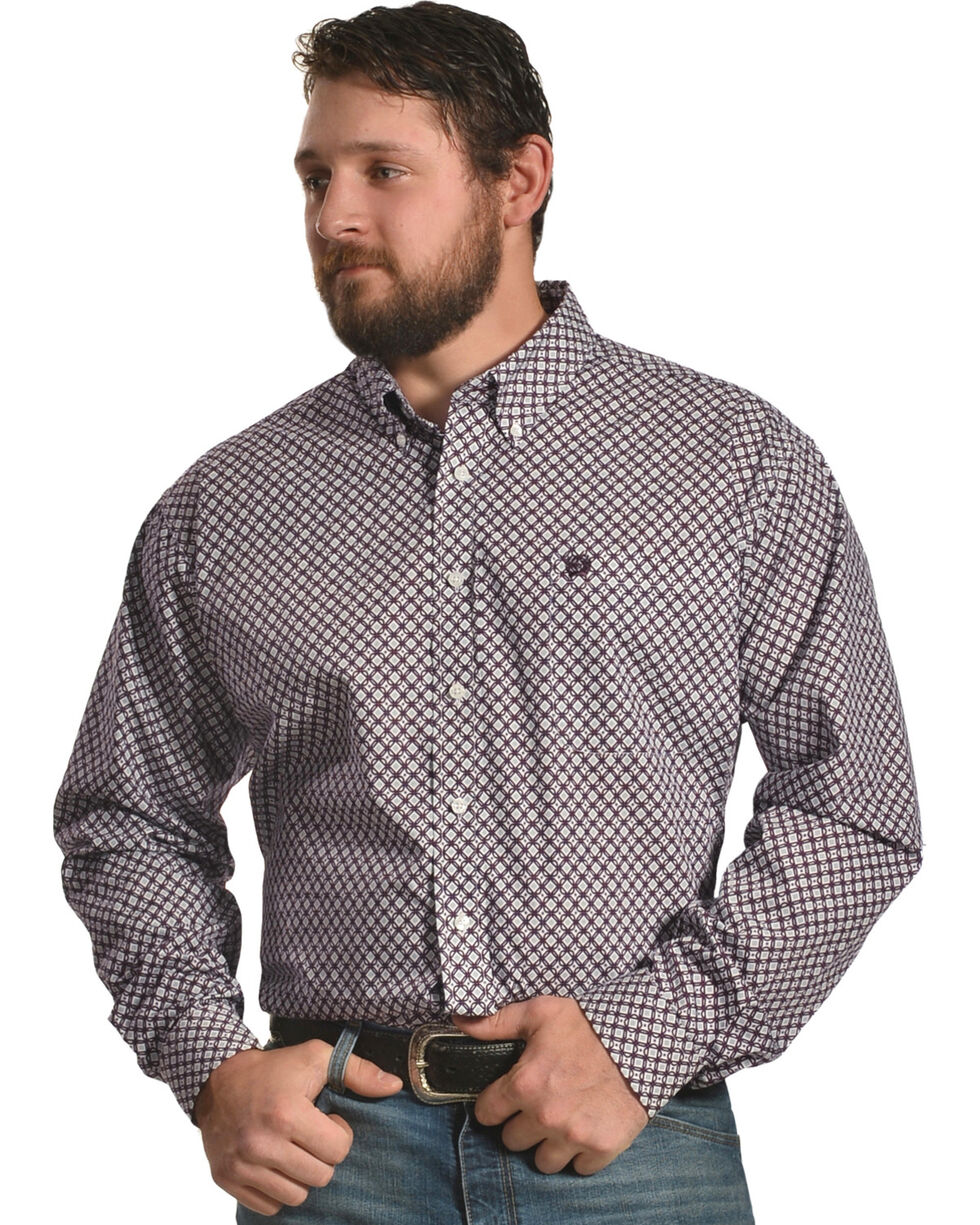 Cinch Men's Plain Weave Print Long Sleeve Shirt, White, hi-res